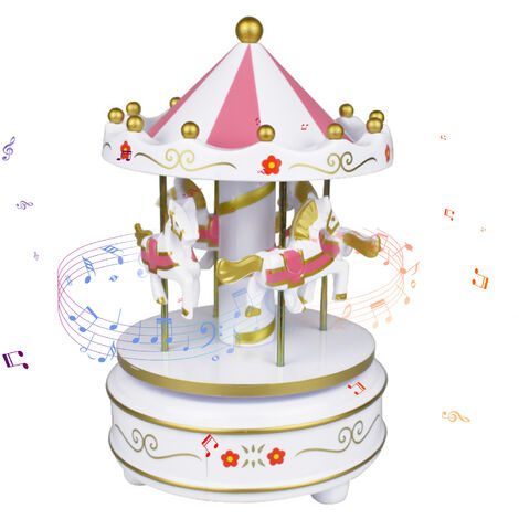 """main image of """"Carousel Music Box 4-Horse Rotating Baby Musical Toy Christmas Gifts Birthday Presents for Girls Kids Children Daughter Friends"""""""