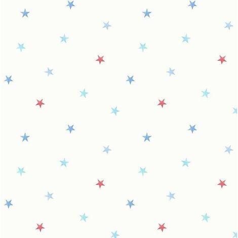 Carousel Stars Wallpaper White Blue Red Navy Nursery Children Matt Smooth Finish