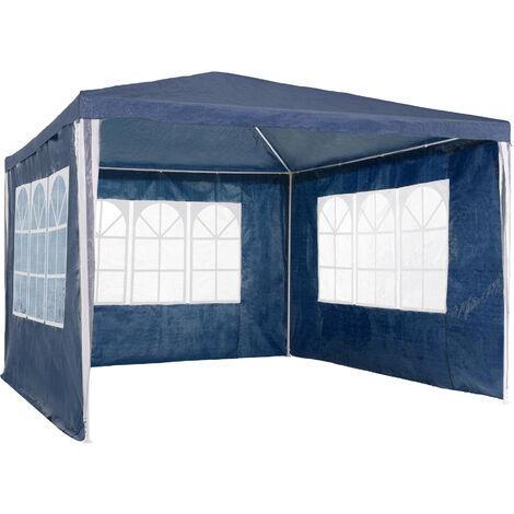 Carpa 3x3m con 3 paneles laterales - cenador de jardín con piquetas, carpa para fiestas con estructura robusta, gazebo plegable con anclaje al suelo