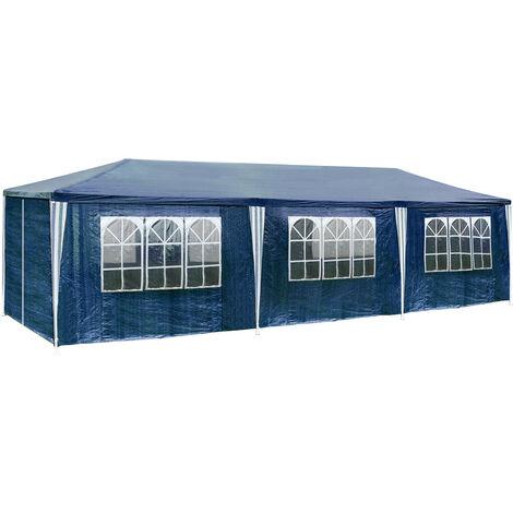 Carpa 9x3m con 8 paneles laterales - cenador de jardín con piquetas, carpa para fiestas con estructura robusta, gazebo plegable con anclaje al suelo
