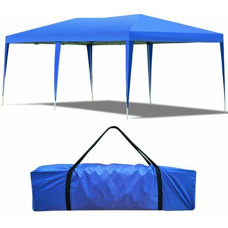 Carpa Cenador Plegable para Patio Toldo de Exterior 3x6x2,5m Grande Portátil para Fiesta Comercial Azul