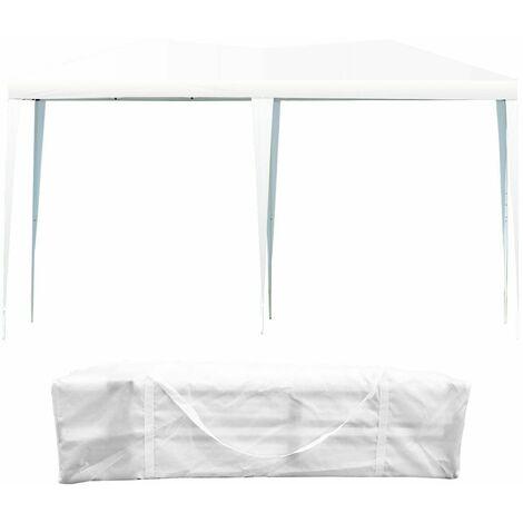 Carpa Cenador Plegable para Patio Toldo de Exterior 3x6x2,5m Grande Portátil para Fiesta Comercial Blanco