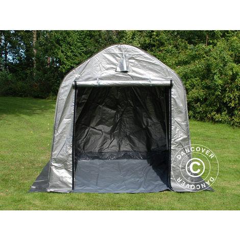 Carpa de almacenamiento PRO 2x2x2m PE, con cubierta de terreno, Gris