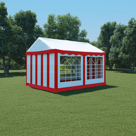 Carpa de jardín de PVC 3x4 m rojo y blanco