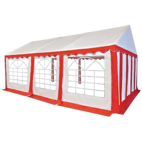 Carpa de jardín de PVC 4x6 m rojo y blanco