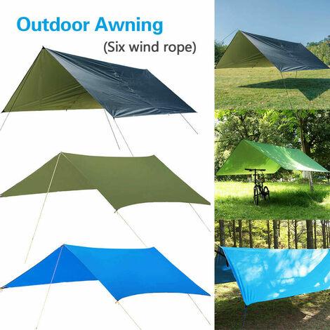Carpa de lona impermeable de 300x300 cm, toldo para acampar, refugio solar, hamaca, lluvia, mosca, cubierta de viaje (negro, 300x300 cm)