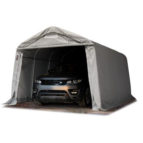 Carpa Garage 3,3x4,8 m PVC de alta resistencia aprox. 550 g/m² Garaje portátil Cobertizo compacto de almacenamiento Refugio 100% impermeable gris - grigio