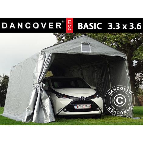 Carpa garaje Basic 3,3x3,6x2,4 m PE, Gris