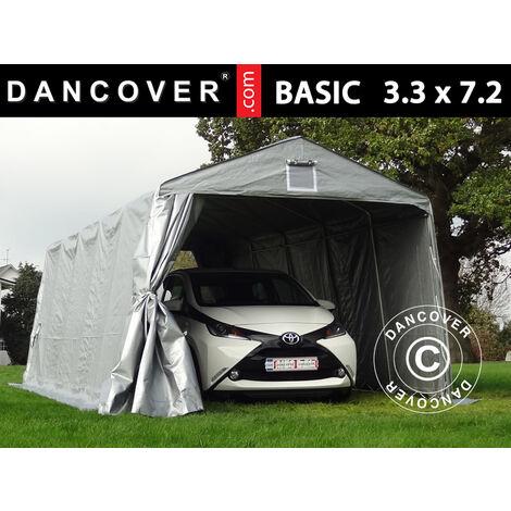 Carpa Garaje Basic 3,3x7,2x2,4 m PE, Gris