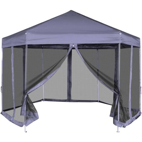 Carpa hexagonal desplegable con 6 paredes azul oscuro 3,6x3,1 m