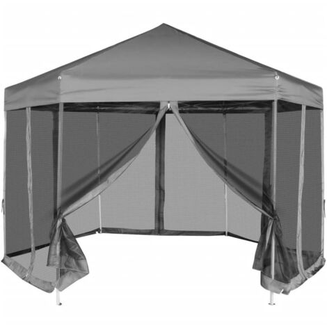 Carpa hexagonal desplegable con 6 paredes laterales gris 3,6x3,1 m