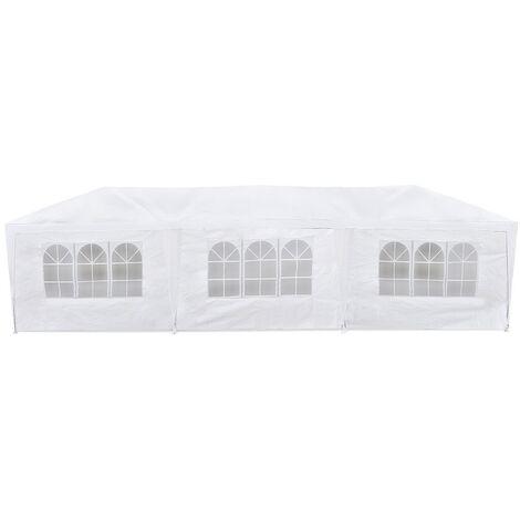 Carpa jardín impermeable 3x9m para eventos 8 paredes con ventana Blanco-McHaus