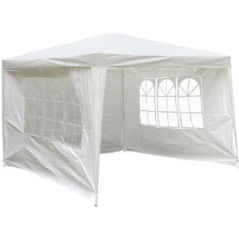 Carpa pabellón impermeable de PE para jardín, bodas, fiestas - Blanco - 3 x 3 m