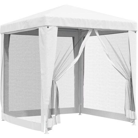 Carpa para celebraciones con 4 paredes de malla blanco 2x2 m