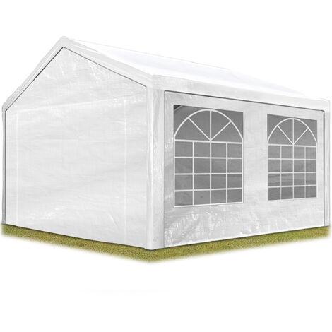 Carpa para fiestas 3x4 m en blanco lona PE 180 g/m² impermeable carpa para el jardín con protección UV - bianco