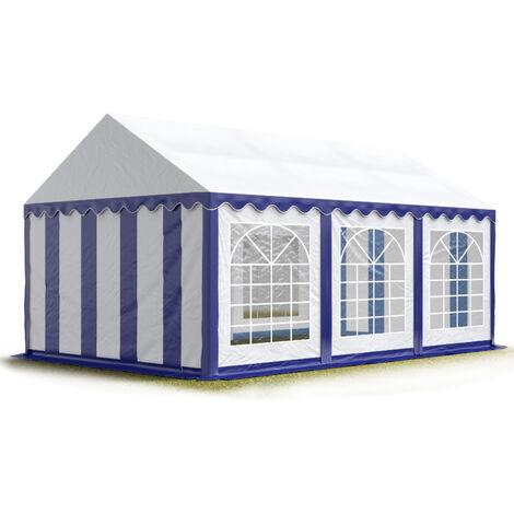 Carpa para fiestas carpa de fiesta 3x6 m carpa de pabellón de jardín aprox. 500g/m² lona PVC en azul-blanco impermeable - bianco-blu