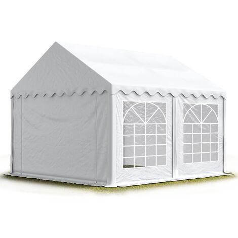 Carpa para fiestas carpa de fiesta 4x4 m carpa de pabellón de jardín aprox. 500g/m² lona PVC en blanco impermeable - bianco