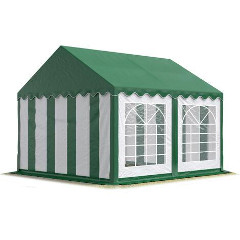Carpa para fiestas carpa de fiesta 4x4 m carpa de pabellón de jardín aprox. 500g/m² lona PVC en verde-blanco impermeable - verde