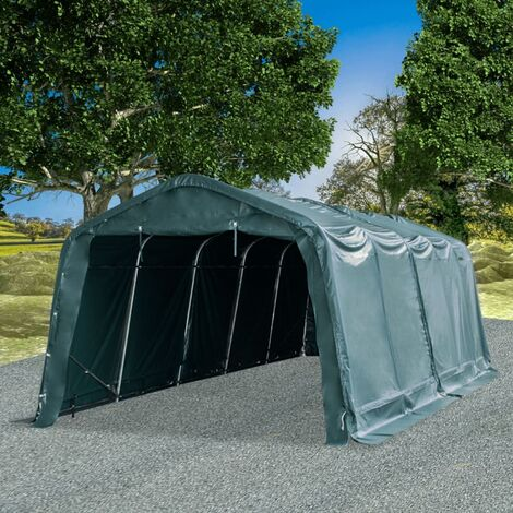Carpa para ganado desmontable PVC verde oscuro 550 g/m² 3,3x8 m