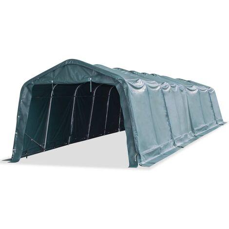 Carpa para ganado removible PVC verde oscuro 550 g/m² 3,3x12,8m