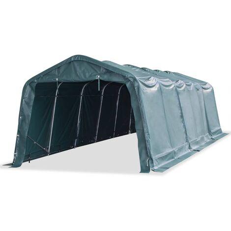 Carpa para ganado removible PVC verde oscuro 550 g/m² 3,3x9,6 m