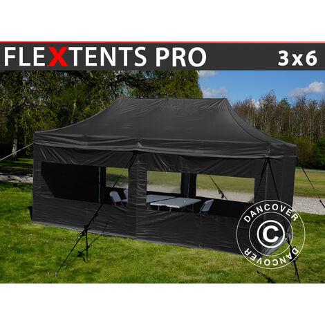 Carpa para visitas FleXtents PRO 3x6m Negro, Se incluyen 6 muros laterales y 1 tabique transparente