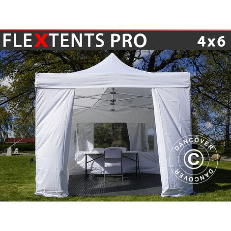 Carpa para visitas FleXtents PRO 4x6m Blanco. Se incluyen 8 muros laterales y 1 tabique transparente