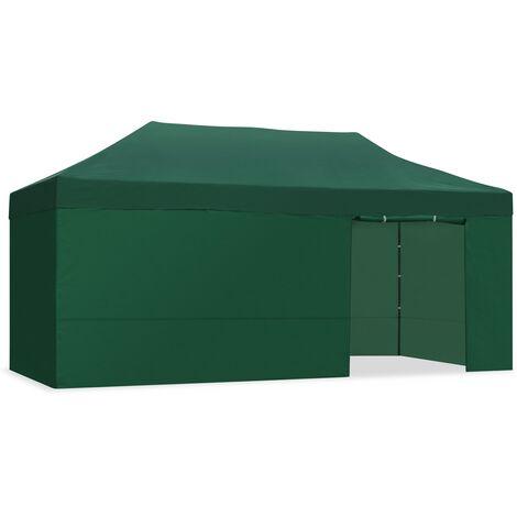 Carpa plegable 3x6 impermeable, carpas para exteriores, eventos y celebraciones, altura ajustable en 5 posiciones, 6 paredes y 1 puerta con proteccion UV, cenador plegable ideal para jardin o terraza, verde