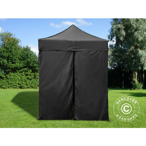 Carpa plegable Carpa Rapida FleXtents PRO 2x2m Negro, incl. 4 lados