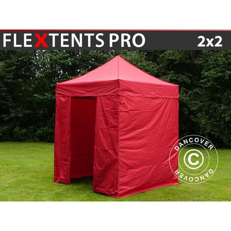 Carpa plegable Carpa Rapida FleXtents PRO 2x2m Rojo, incl. 4 lados