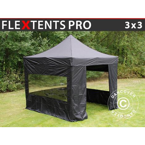 Carpa plegable Carpa Rapida FleXtents PRO 3x3m Negro, incl. 4 lados