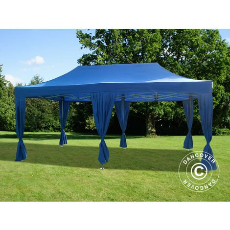 Carpa plegable Carpa Rapida FleXtents PRO 3x6m Azul, incluye 6 cortinas decorativas