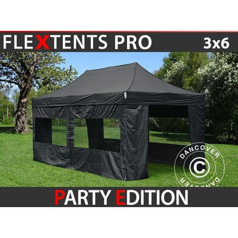 Carpa plegable Carpa Rapida FleXtents PRO 3x6m Negro, incl. 6 lados