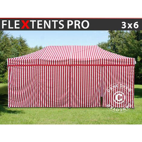 Carpa plegable Carpa Rapida FleXtents PRO 3x6m rayado, incl. 6 lados