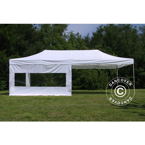 Carpa plegable Carpa Rapida FleXtents PRO 4x8m Blanco, Ignífuga, Incl. 6 lados