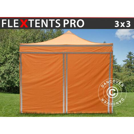 Carpa plegable Carpa Rapida FleXtents PRO, Carpa de trabajo 3x3m Naranja reflectante, Incl. 4 lados
