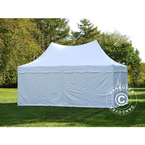 Carpa plegable Carpa Rapida FleXtents PRO Peak Pagoda 3x6m Blanco, Incl. 6 lados