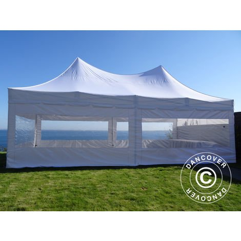 Carpa plegable Carpa Rapida FleXtents PRO Peak Pagoda 4x8m Blanco, Incl. 6 lados