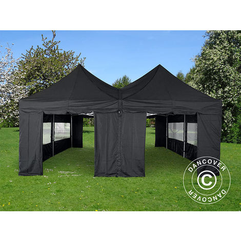 Carpa plegable Carpa Rapida FleXtents PRO Peak Pagoda 6x6m, Negra, 8 muros laterales incluidos