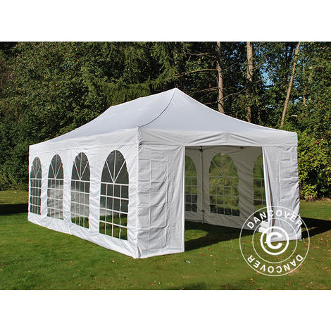 Carpa plegable Carpa Rapida FleXtents PRO Vintage Style 4x8m Blanco, incl. 6 lados