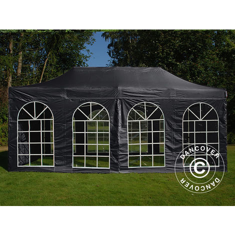 Carpa plegable Carpa Rapida FleXtents Steel 3x6m Negro, incl. 4 lados