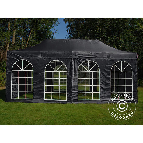 Carpa plegable Carpa Rapida FleXtents Steel 4x8m Negro, incl. 4 lados