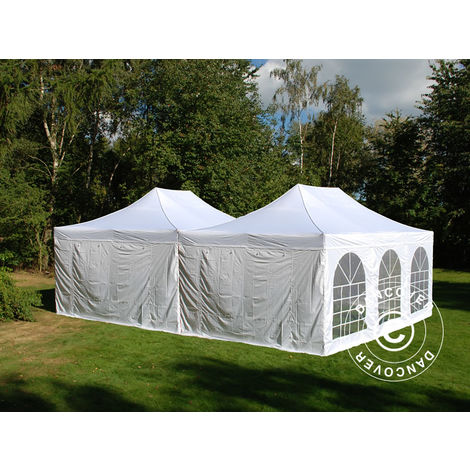 Carpa plegable Carpa Rapida FleXtents Steel 8x6m Blanco, inclusiva 8 Paredes laterales