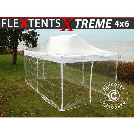 Carpa plegable Carpa Rapida FleXtents Xtreme 50 4x6m Transparente, Incl. 8 lados