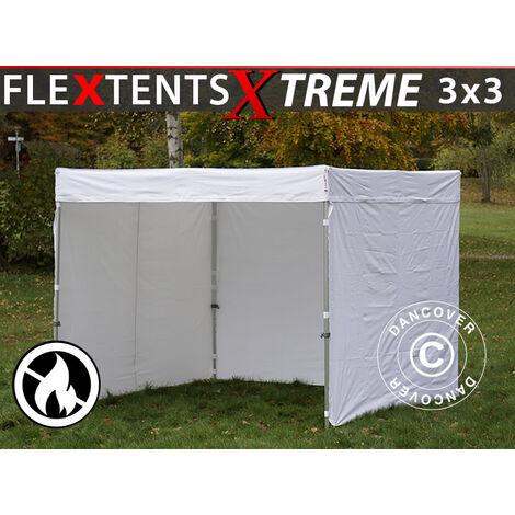 Carpa plegable Carpa Rapida FleXtents® Xtreme Exhibition 50 3x3m, Incl. 4 lados, Blanco, Ignífugo