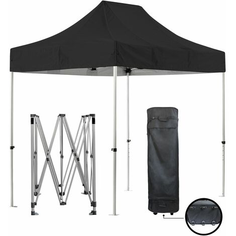 Carpa plegable negra 2x3m SUPER Heavy Duty 40mm Tubo de aluminio 420D Impermeable Barnum Plegable Garden Market Lona + Bolsa de transporte - negro