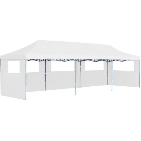 Carpa plegable Pop-up con 5 paredes laterales blanco 3x9 m