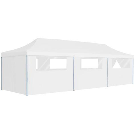 Carpa plegable Pop-up con 8 paredes laterales blanco 3x9 m