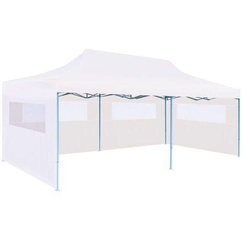 Carpa plegable Pop-up con paredes laterales acero gris 3x6 m