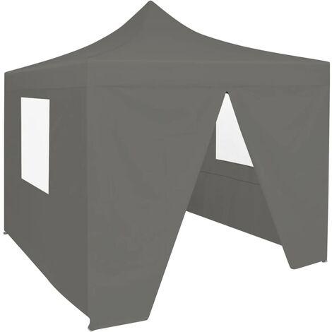 Carpa plegable profesional 4 paredes acero gris antracita 2x2 m